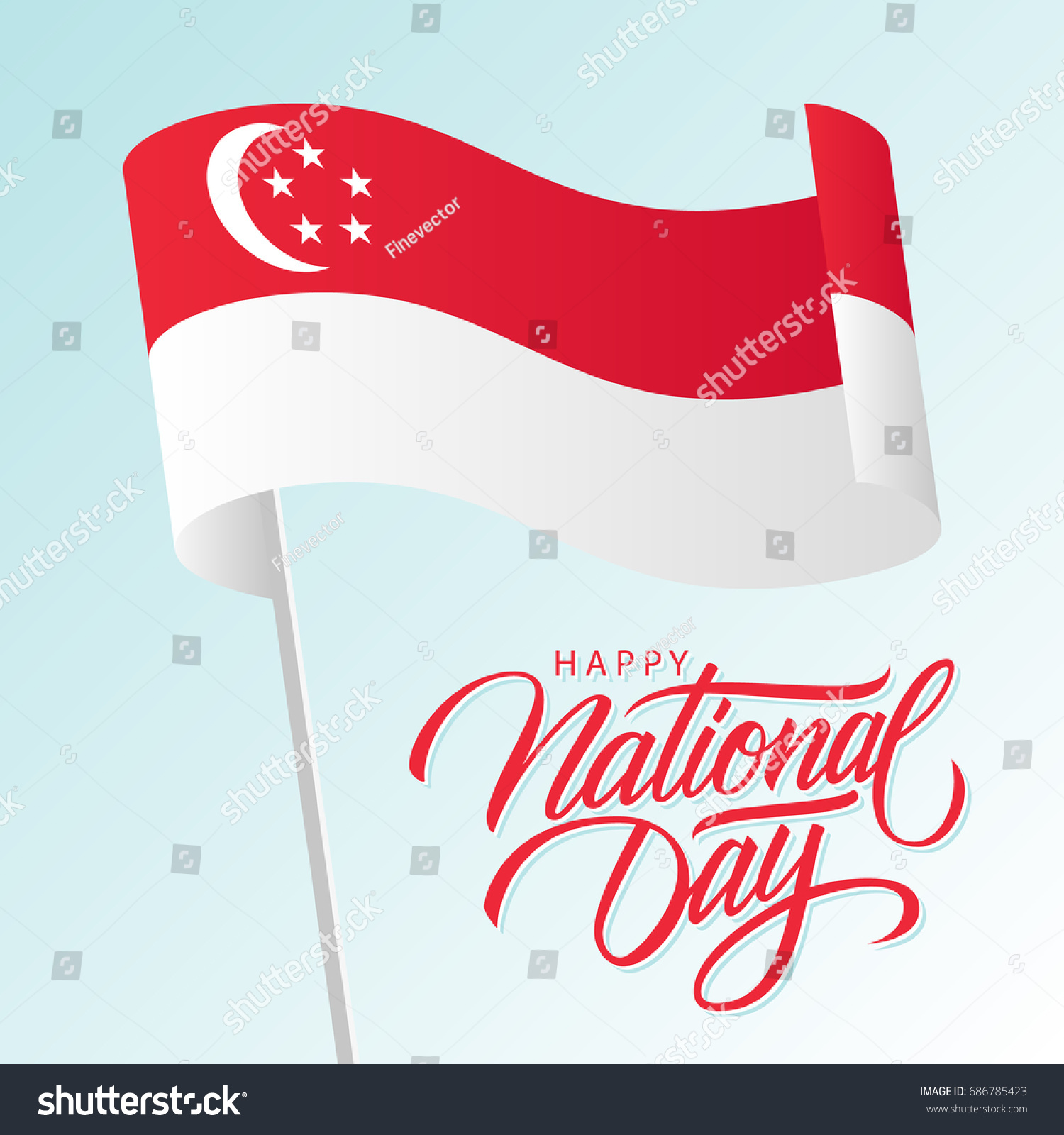 Singapore happy national day greeting card stock vector