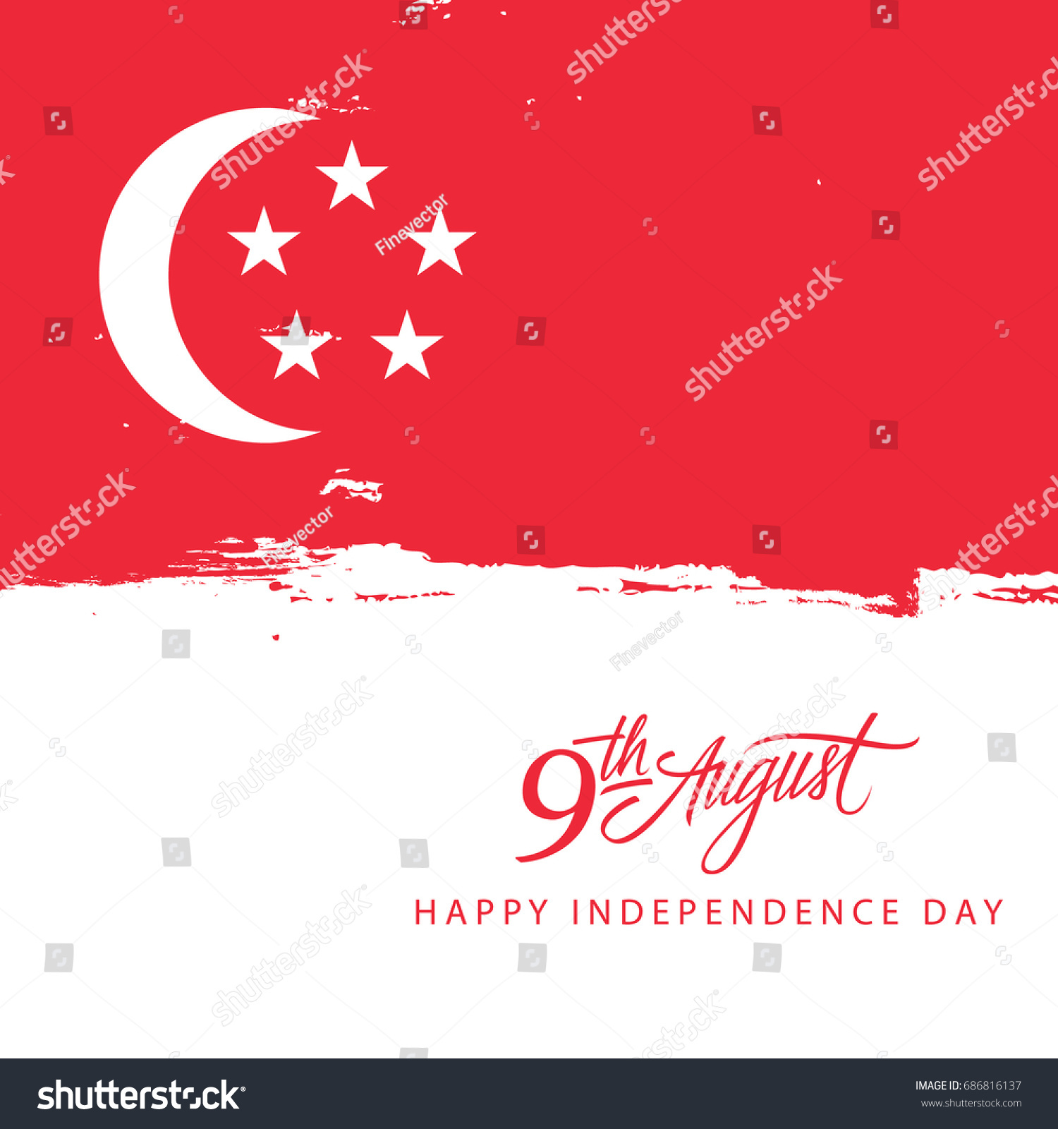 Singapore Happy Independence Day 9 August Stock Vector 686816137