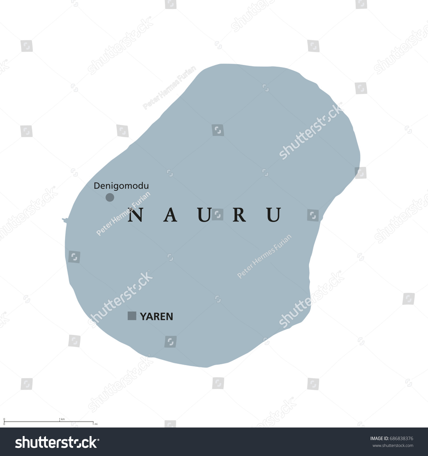 Nauru Political Map Capital Yaren Formerly Stock Vector - Nauru map vector
