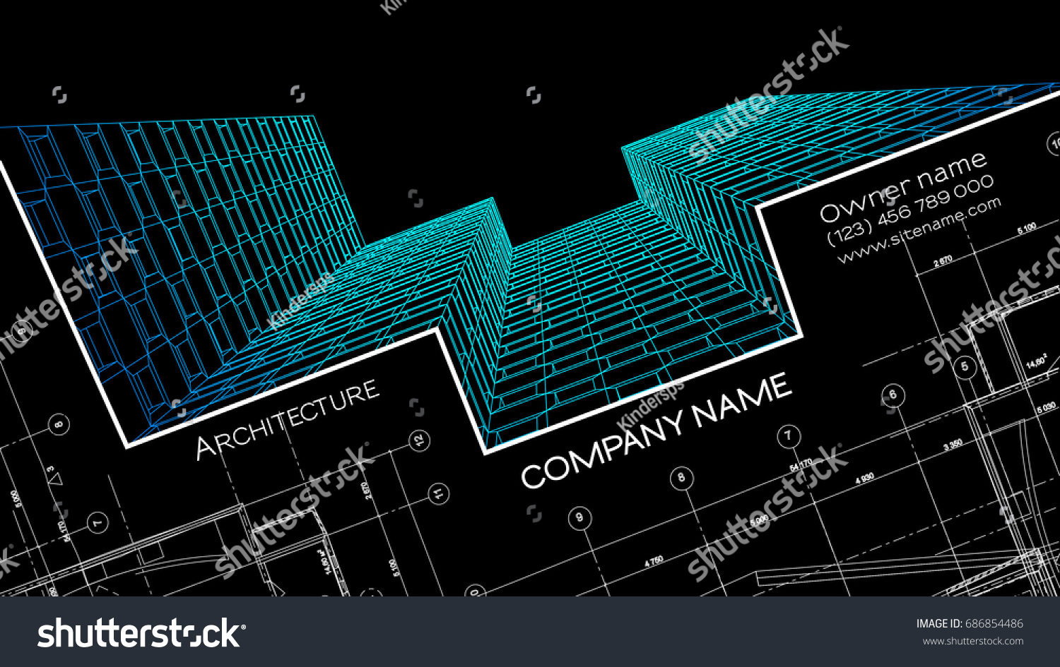 Elegant Business Card Architect Abstract Vector Stock Vector ...