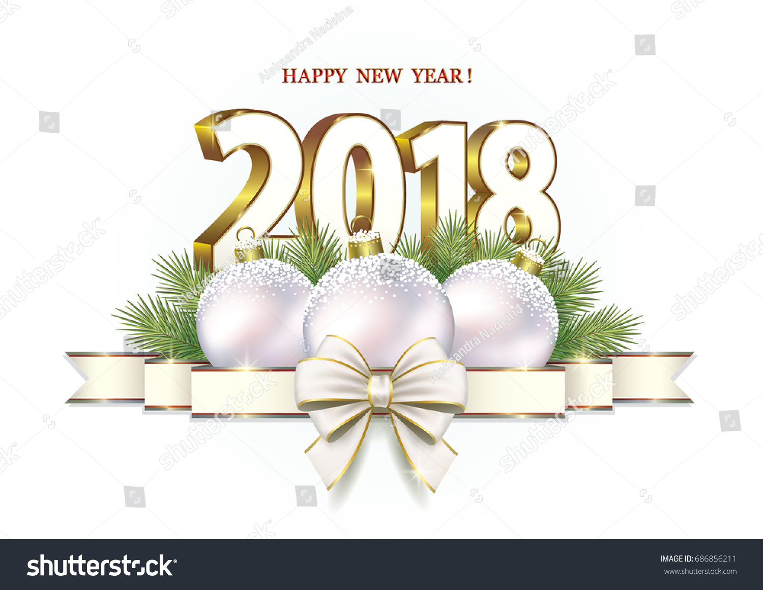 postcard 2018 new year with balls and ribbon with bow on a white background vector