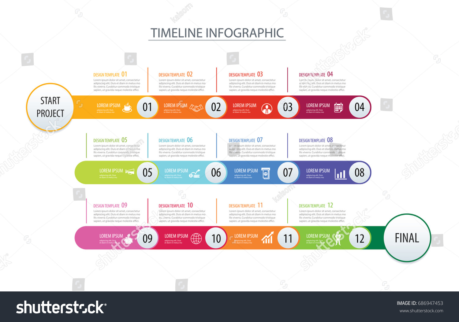 Infographic Timeline 1 Year 12 Month Stock Vector 686947453 ...