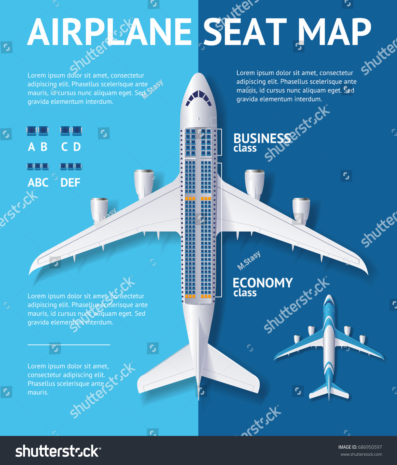 Airplane Seat Map Business Economy Class Stock Vector 686950597 ...