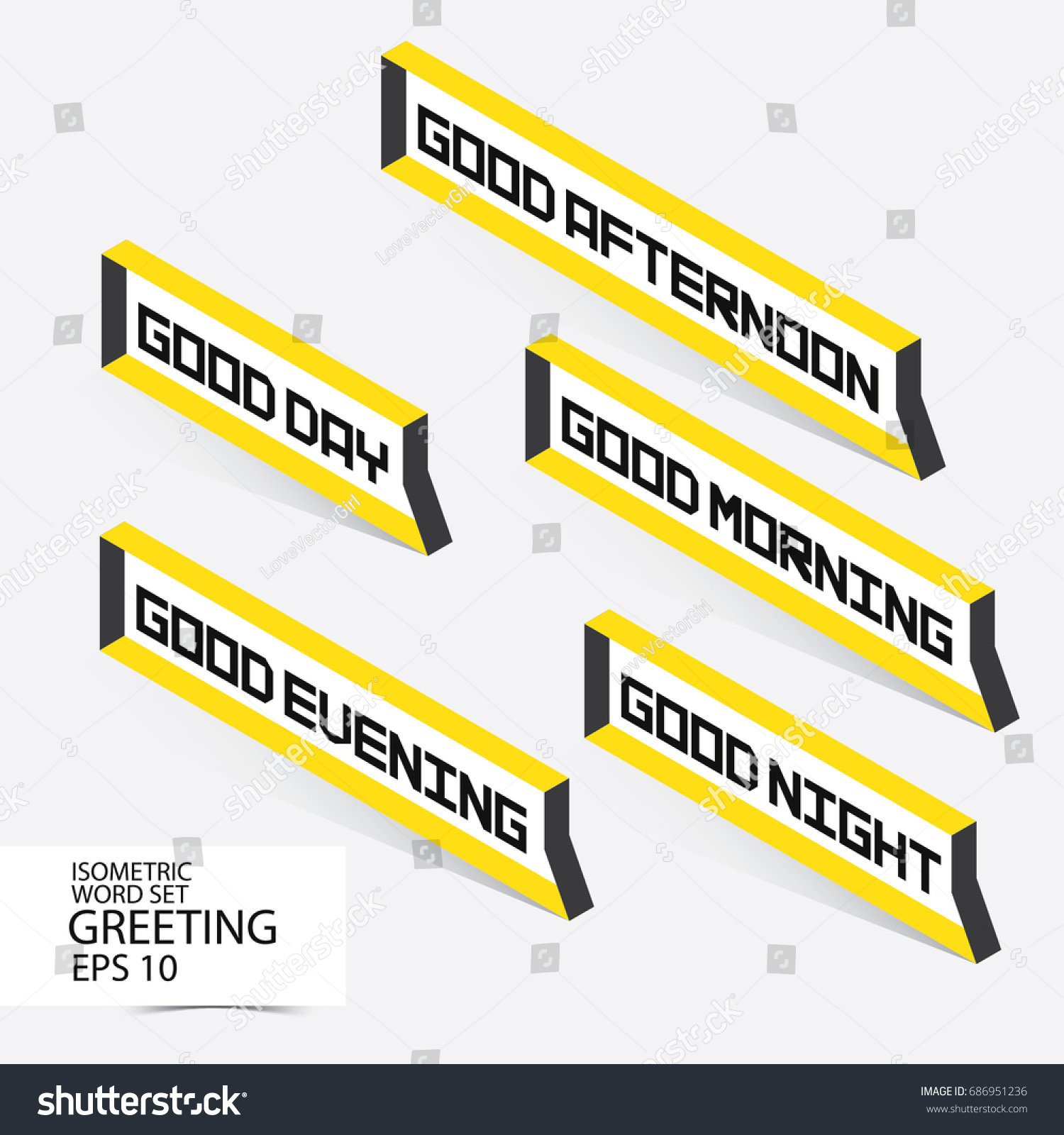 Greeting Letter Set Good Afternoon Evening Stock Vector Royalty