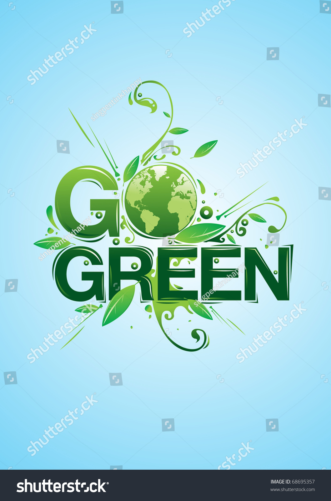 Go Green Campaign Poster Stock Vector 68695357 - Shutterstock