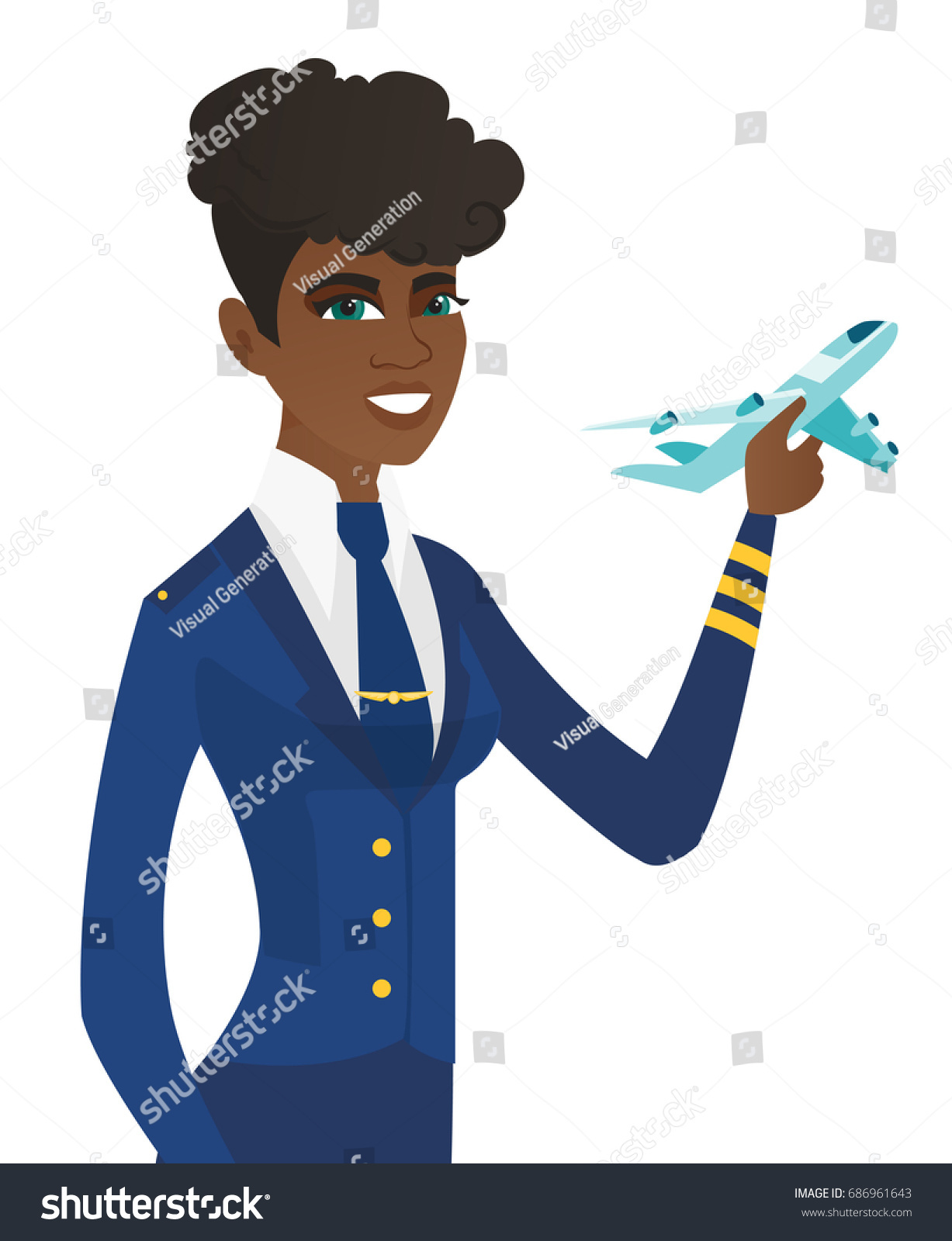 young africanamerican stewardess holding model airplane stock