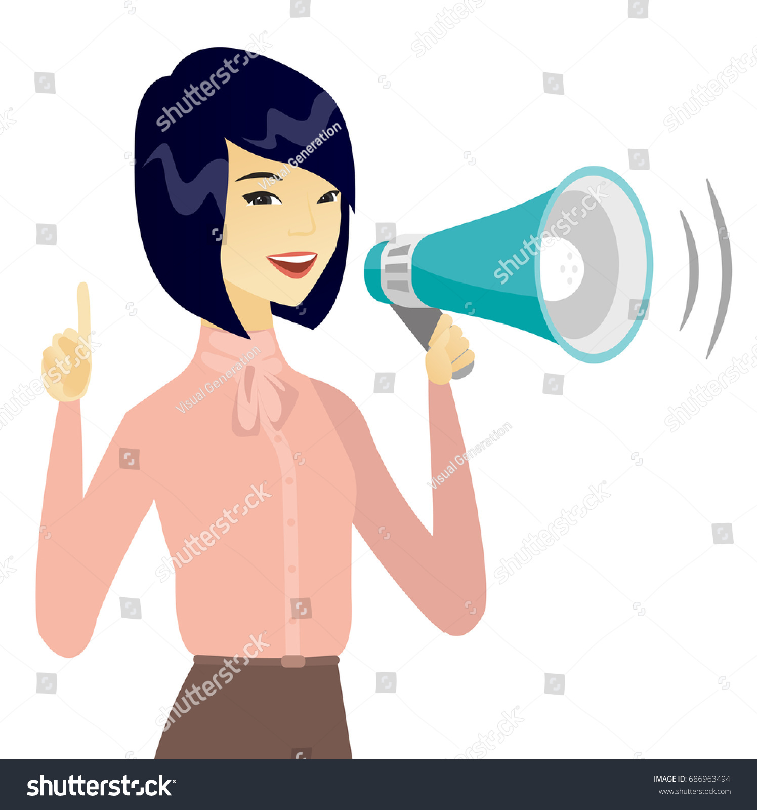 asian business woman speaking into loudspeaker stock vector royalty free 686963494 shutterstock