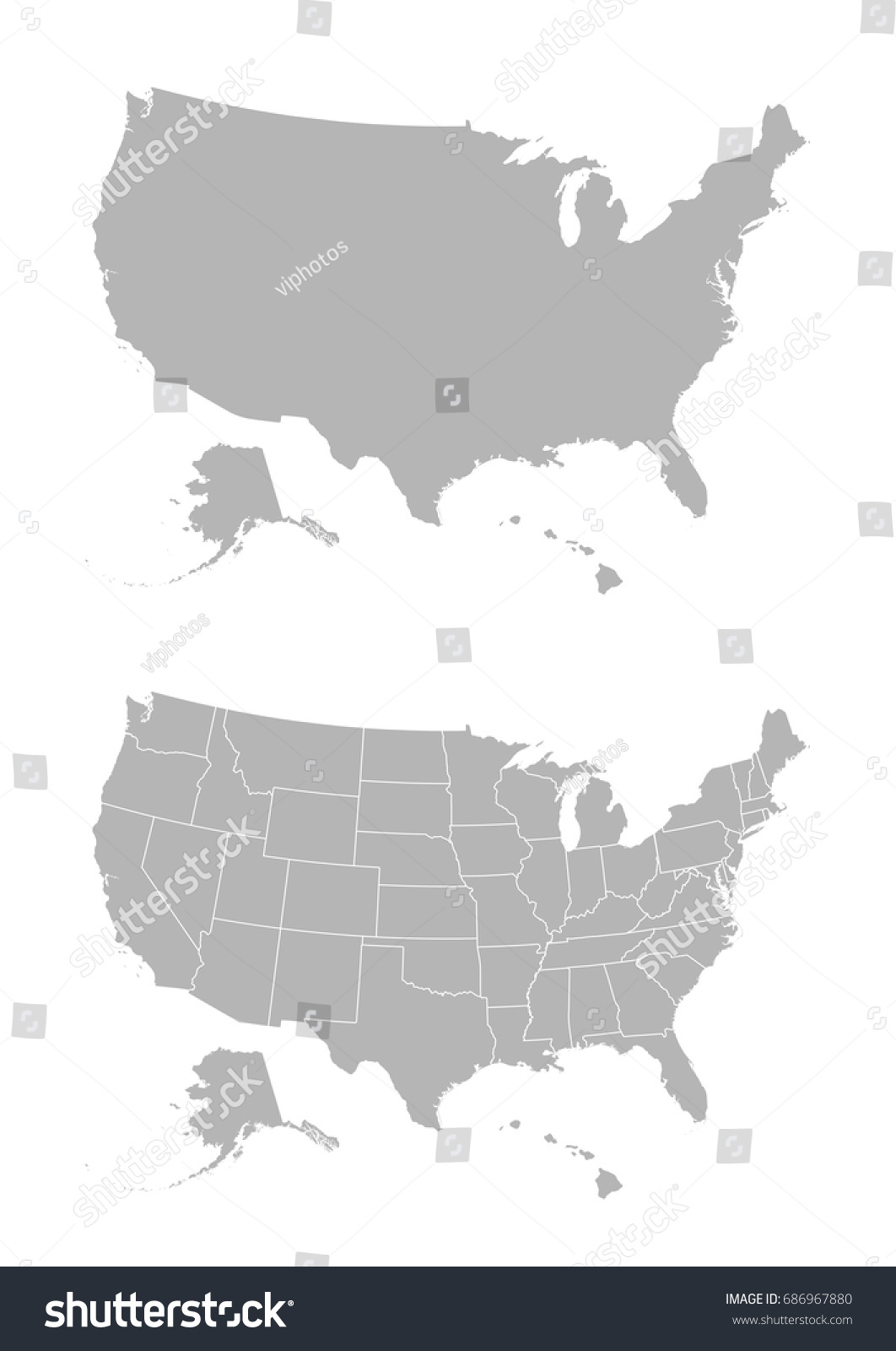 Vector Map United States America Stock Vector 686967880 Shutterstock