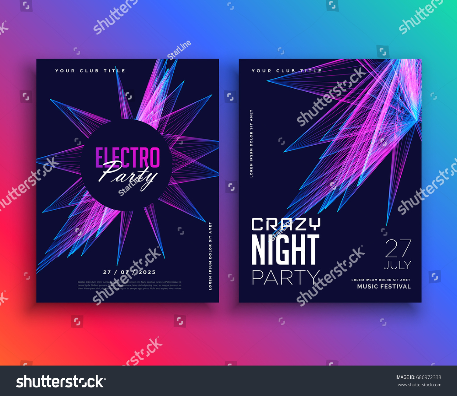 electro party music flyer template invitation stock vector 686972338 shutterstock. Black Bedroom Furniture Sets. Home Design Ideas