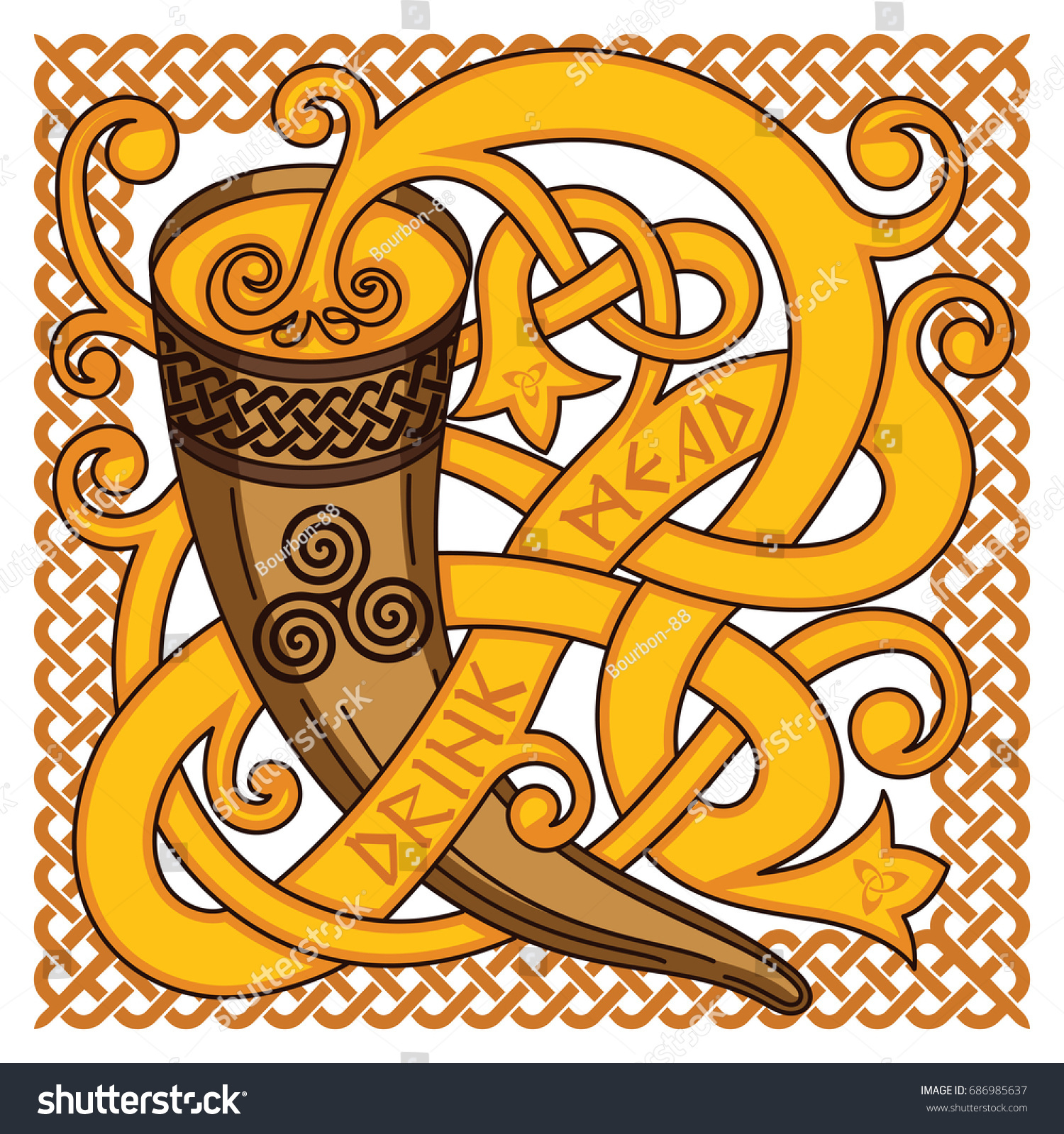 Celtic Scandinavian Design Drinking Horn With Mead And Woven Pattern Isolated On White