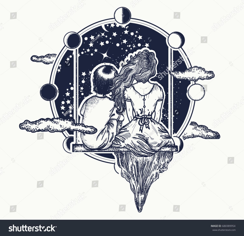 Galexy Girl Swinging Tattoo: Love Tattoo Girl Boy On Swing Stock Vector 686989954