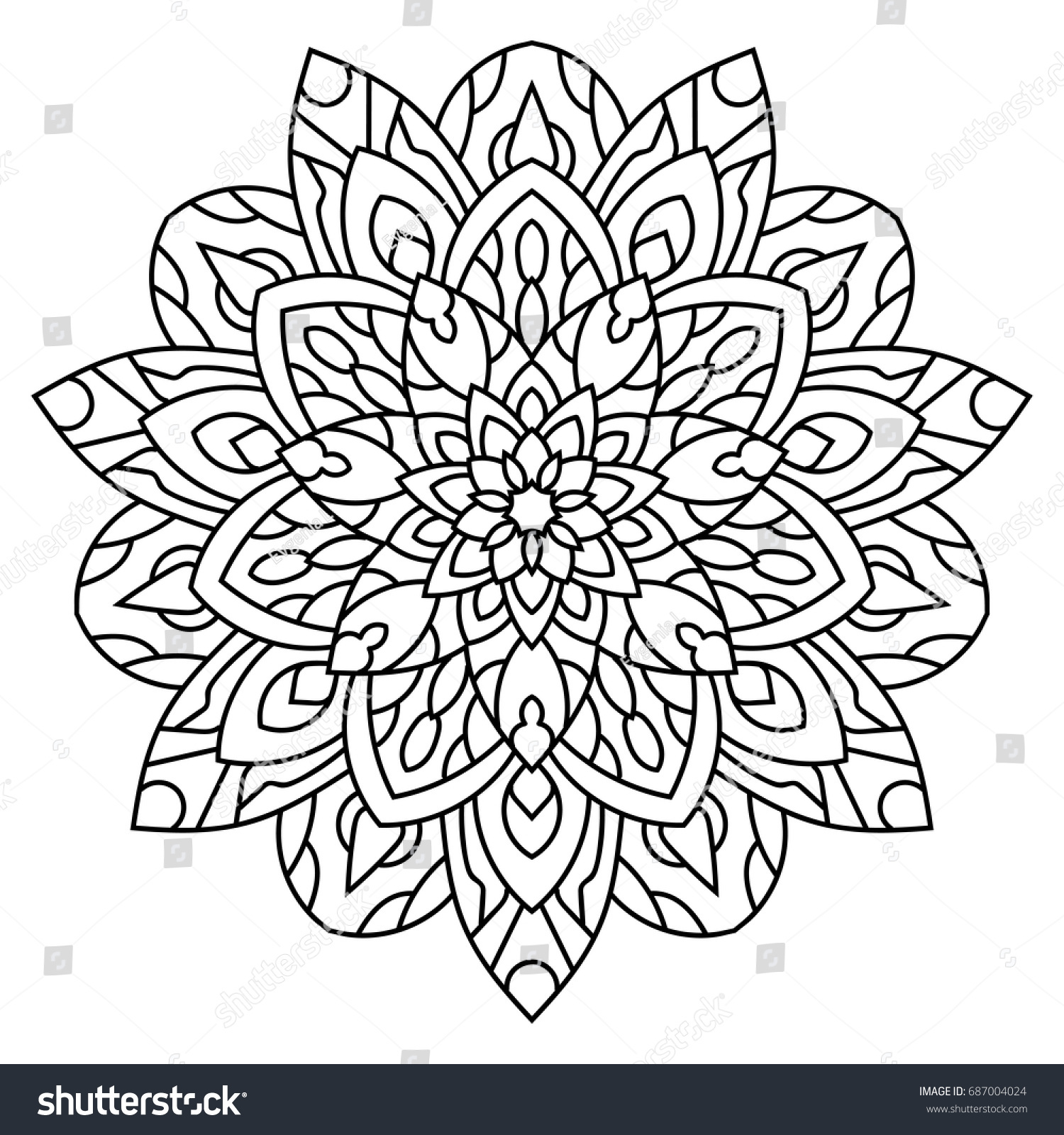 Vector Contour Adult Coloring Black And White Illustration Design Element Page Mandala Floral Pattern Ethnic Style Boho
