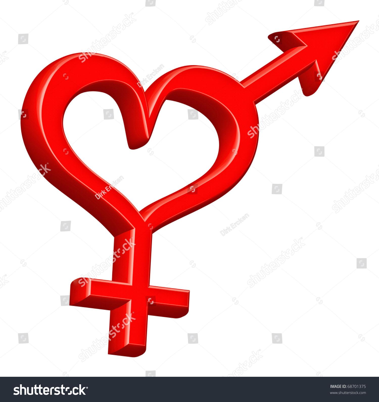 gender symbol heterosexual couple bound red stock