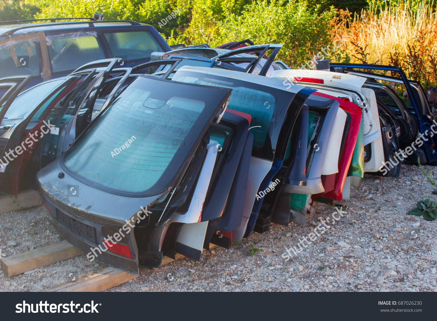 Automobile Parts Old Dismantled Cars Old Stock Photo 687026230 ...