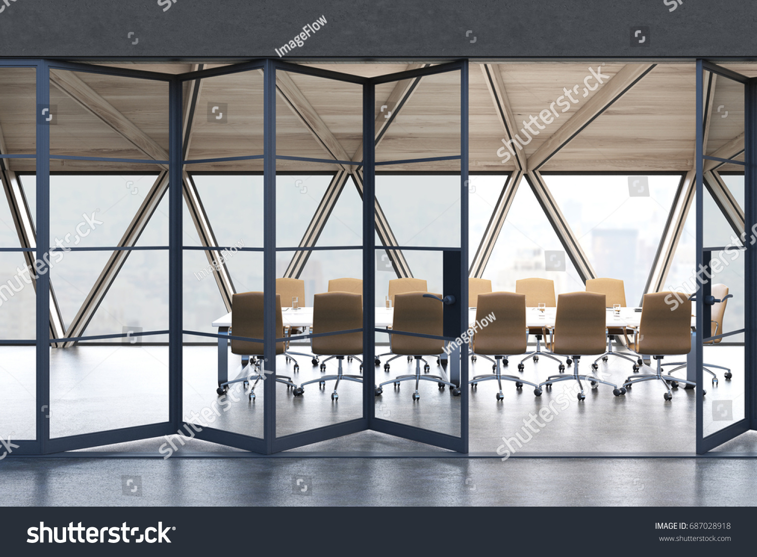 View Conference Room Table Beige Chairs Stock Illustration - Standing conference room table
