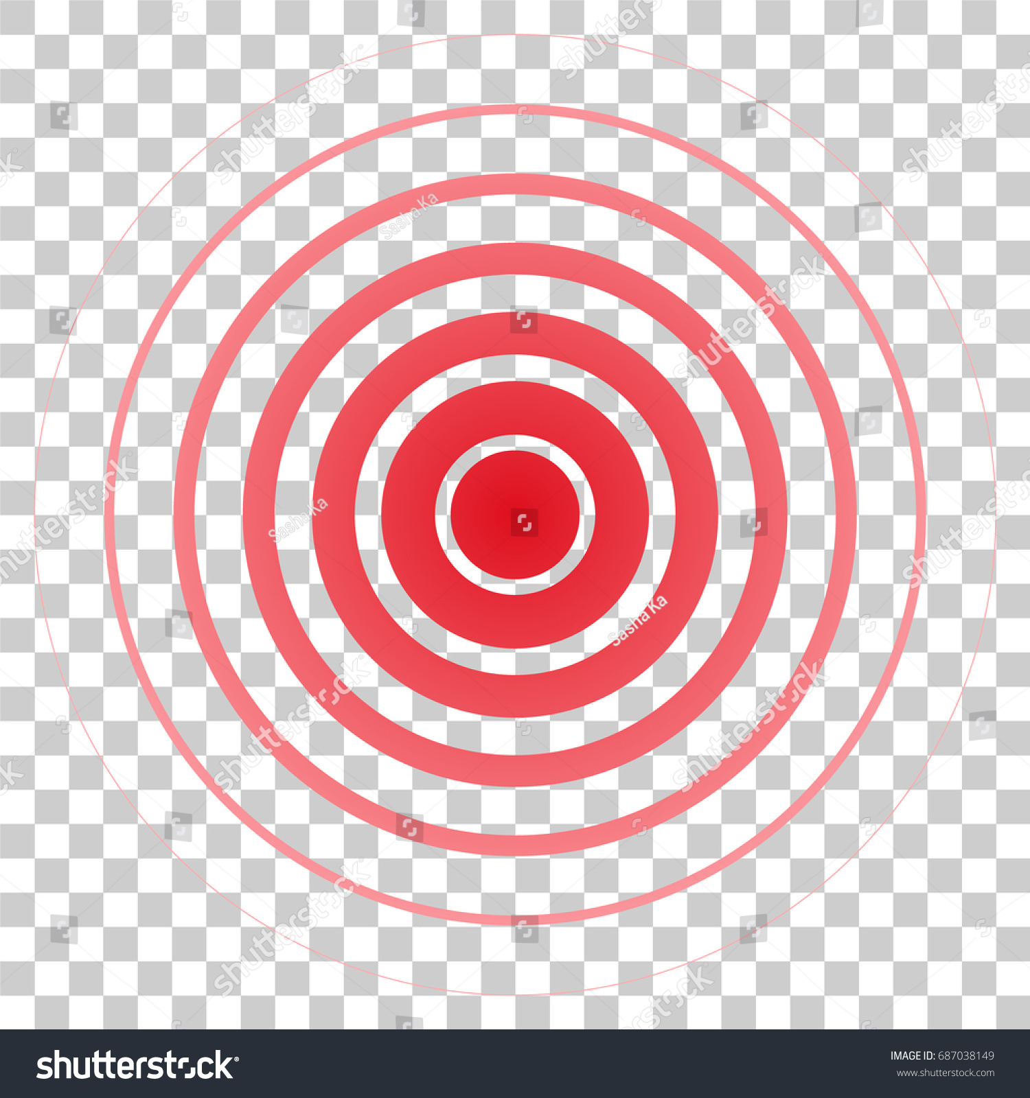 Red Rings Pain Circle Symbol Pain Stock Vector Royalty Free