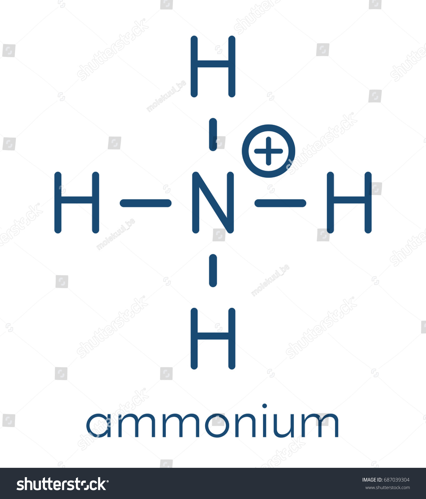 Ammonium Cation Protonated Form Ammonia Skeletal Stock Vector