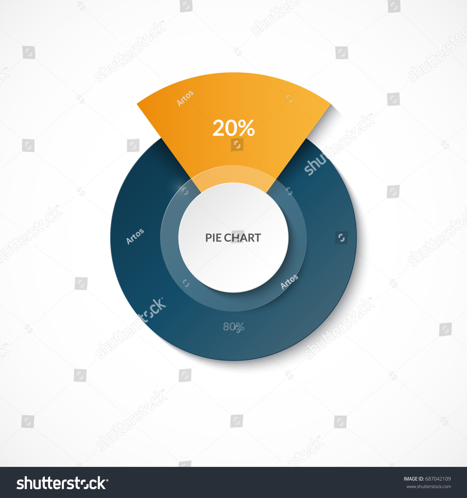 Pie chart share 20 80 circle stock vector 687042109 shutterstock pie chart share of 20 and 80 circle diagram for infographics nvjuhfo Image collections