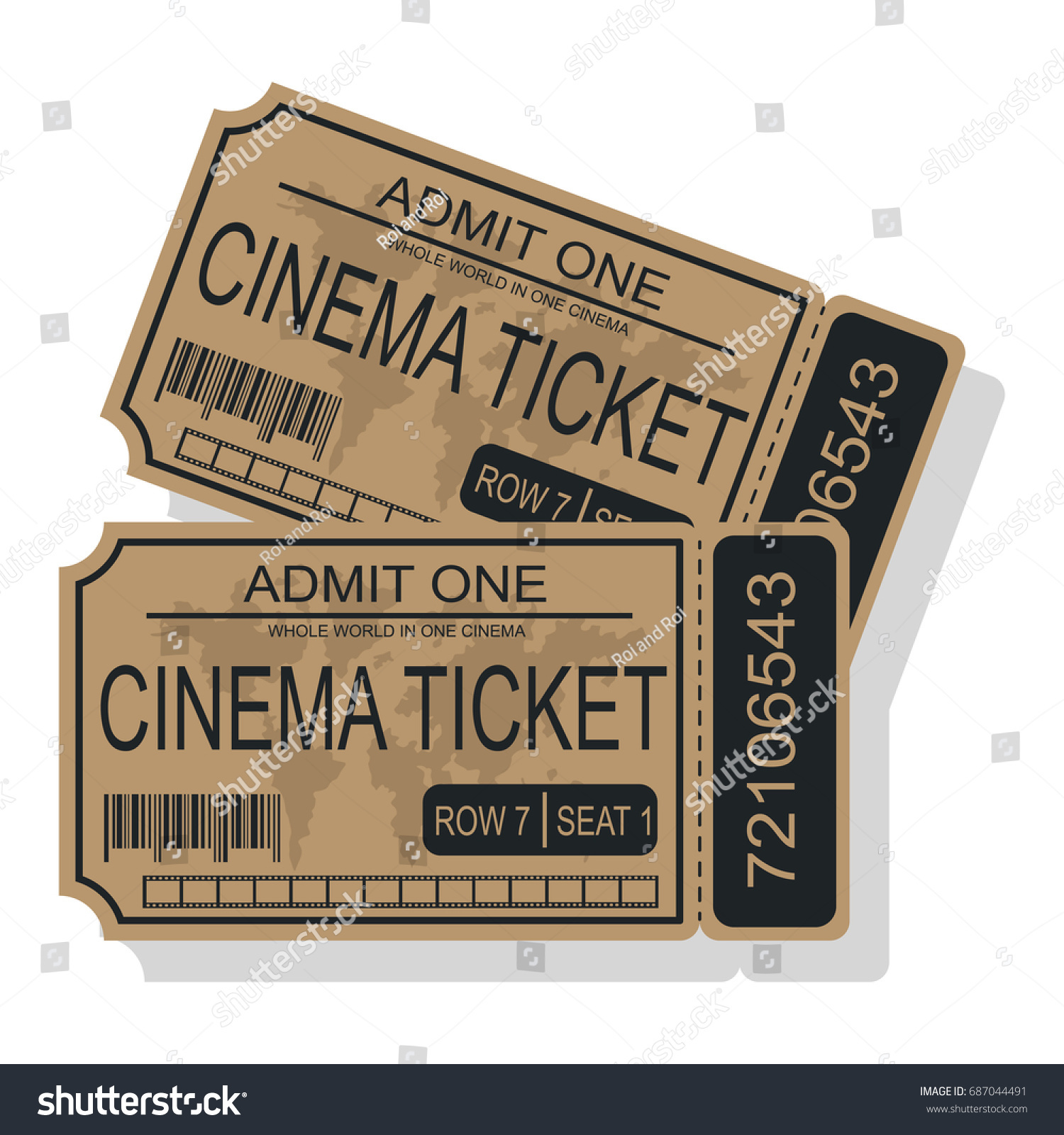 cinema ticket world map barcode tearoff stock vector royalty free