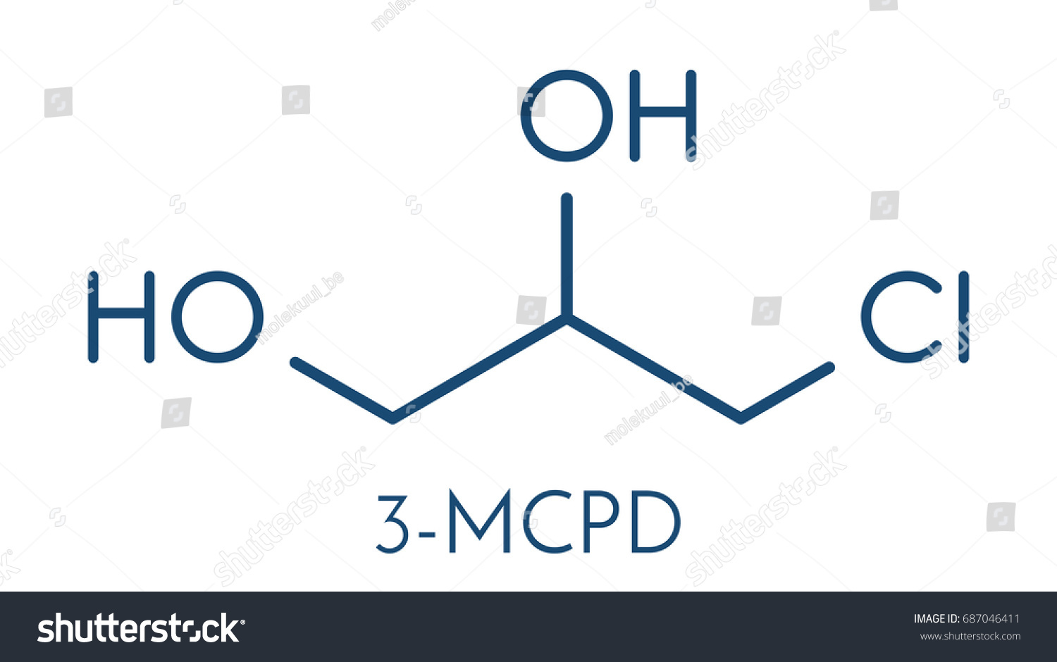 3 Mcpd Carcinogenic Food Byproduct Molecule Produced Stock Vector