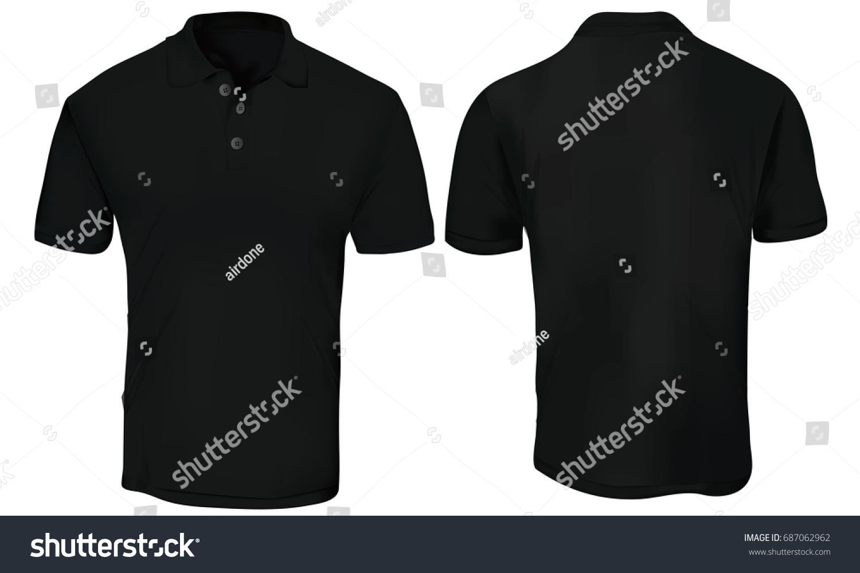 vector illustration blank black polo tshirt のベクター画像素材