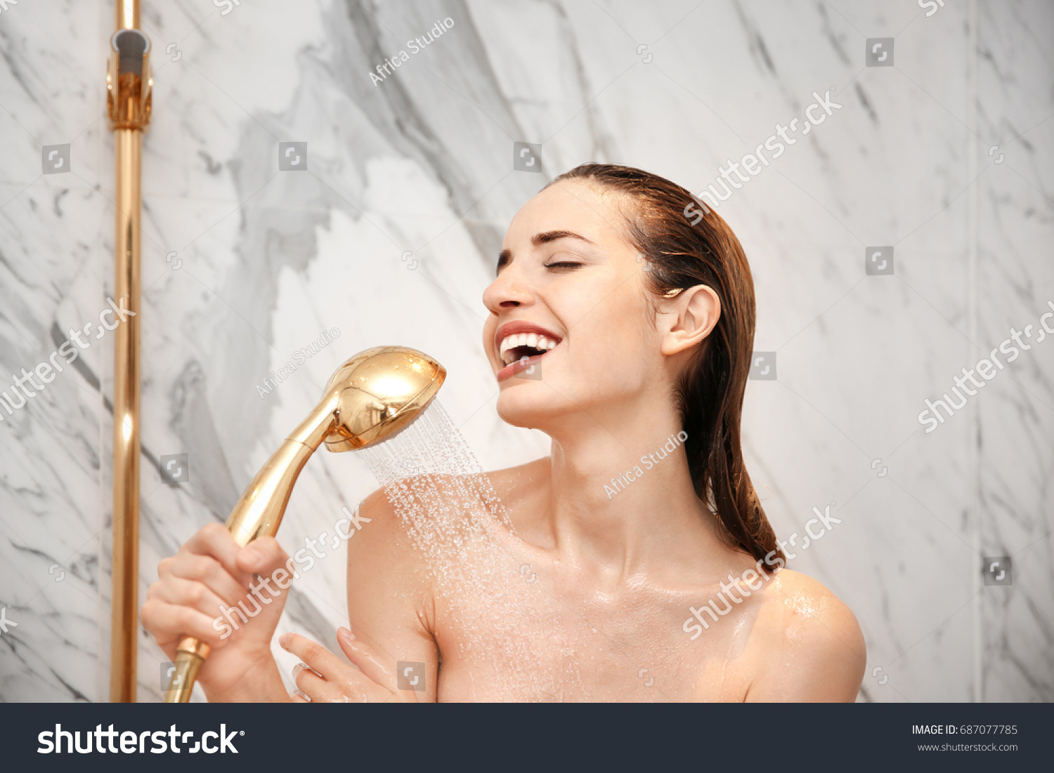 Young Beautiful Woman Taking Shower Bathroom Stock Photo (Edit Now ...