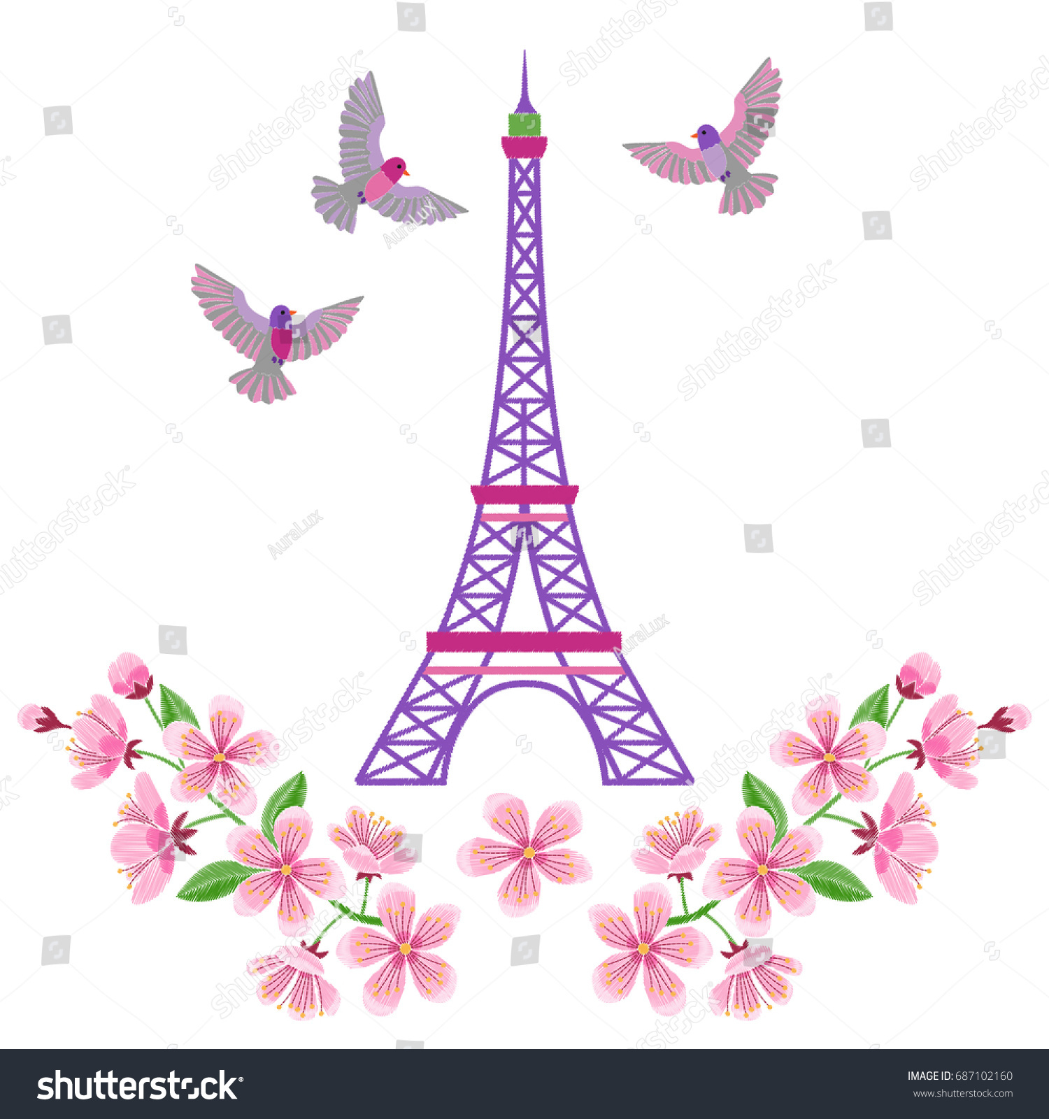 Paris Embroidery Spring Pattern Eiffel Tower Stock Vector Royalty