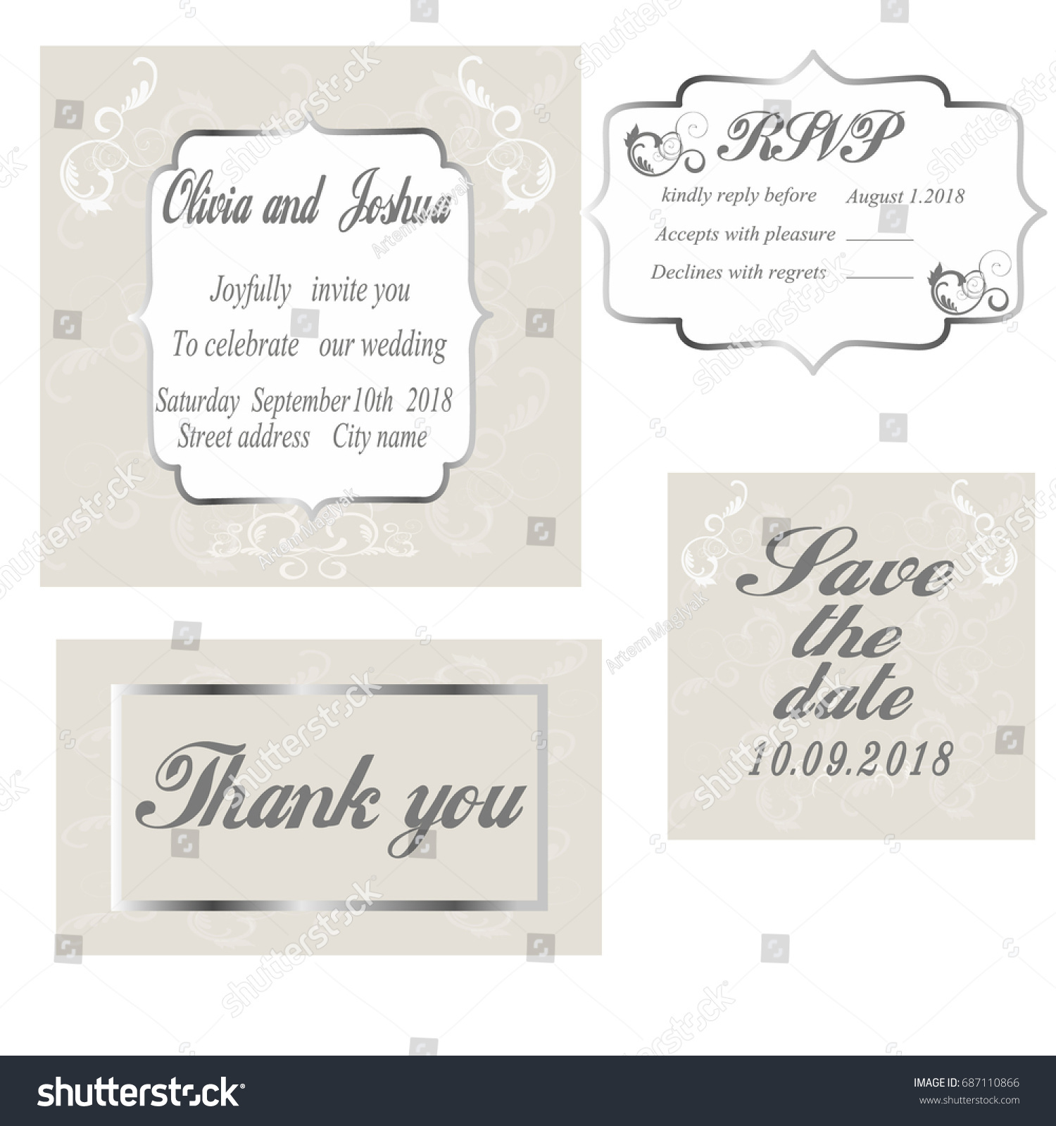 Vintage Wedding Invitation Template Modern Design Stock Vector ...