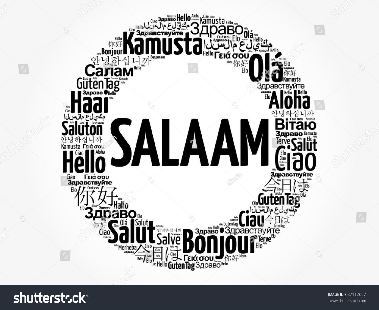Salaam Hello Greeting Persian Farsi Word Cloud Stock Vector Royalty