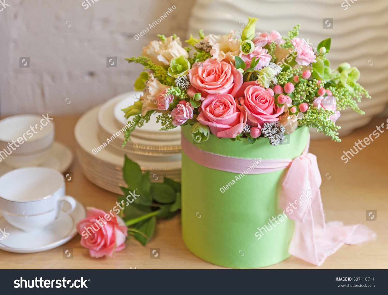 Beautiful flower arrangement hat box stock photo edit now beautiful flower arrangement in a hat box izmirmasajfo