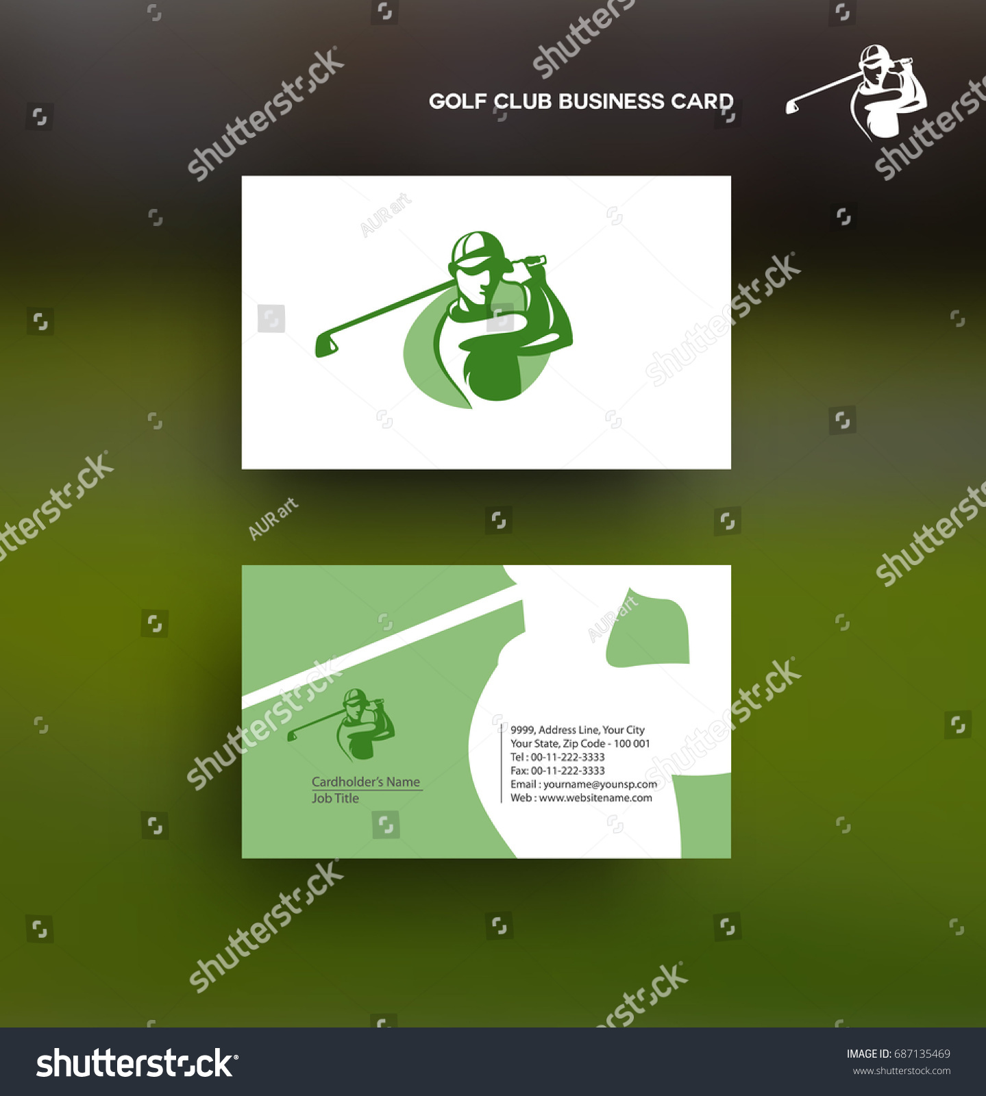 Golf Icon Business Card Information Contact Stock Vector 687135469 ...