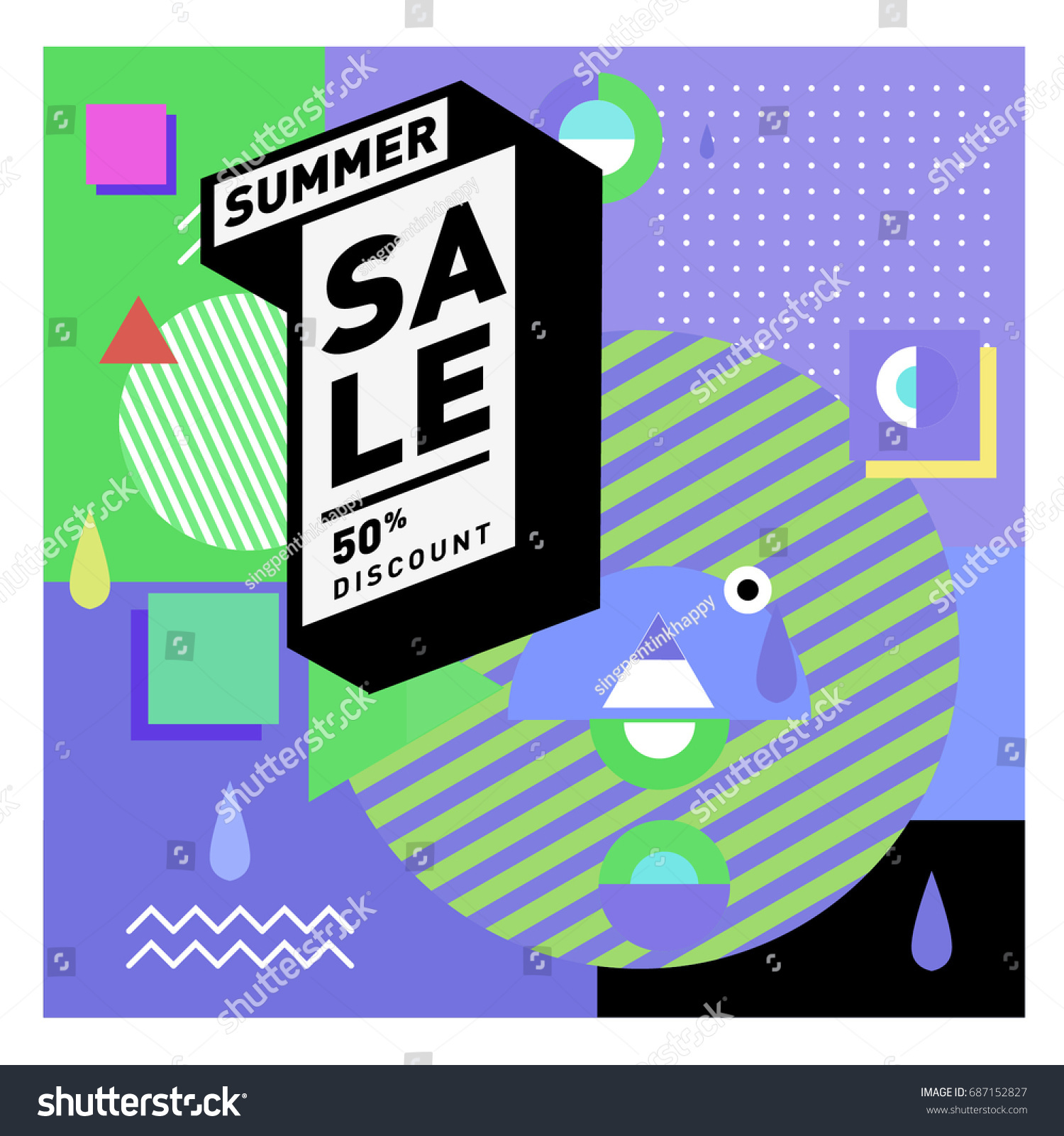 Summer Sale Memphis Style Web Banner Fashion And Travel Discount