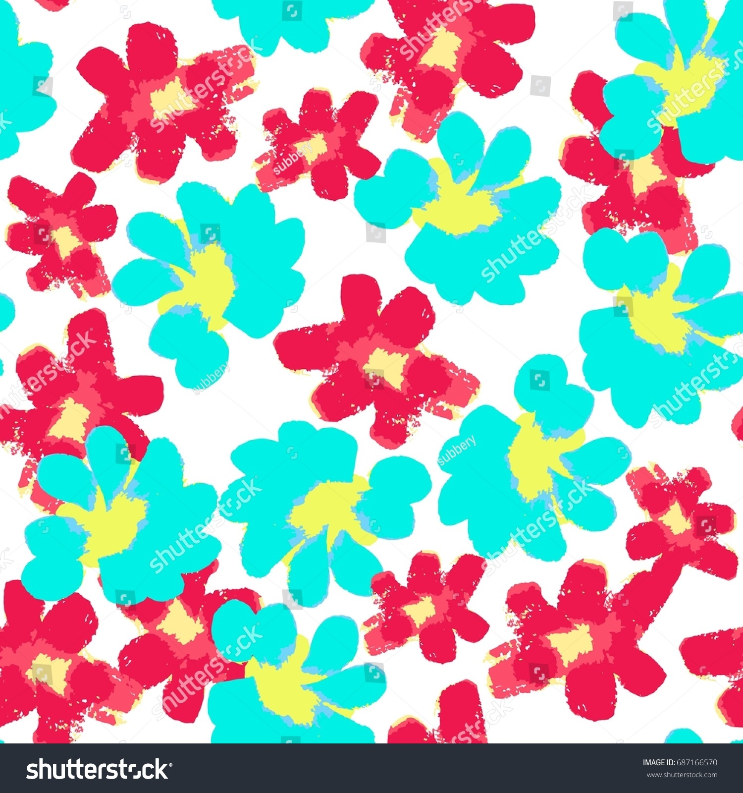 Cute Summer Hand Drawn Floral Seamless Art Pattern Pop Style Bright Color Wallpapers