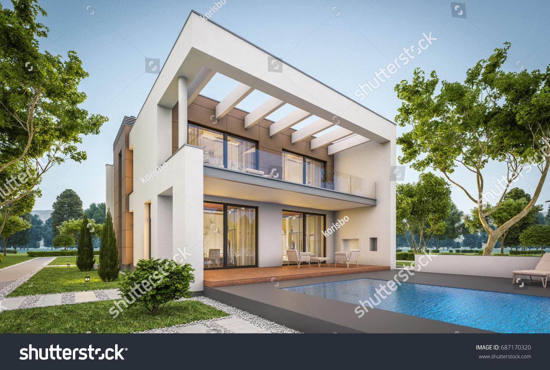 3 d rendering modern cozy house garageのイラスト素材 687170320