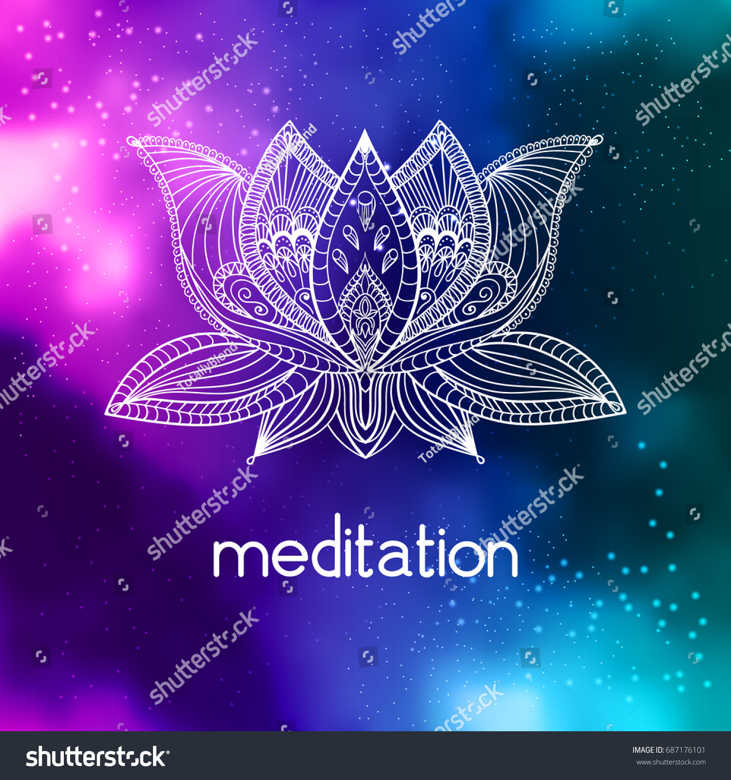 Vector bohoo lotus flower on cosmic stock vector royalty free vector bohoo lotus flower on cosmic galaxy background with meditation hand drawn indian tattoo izmirmasajfo