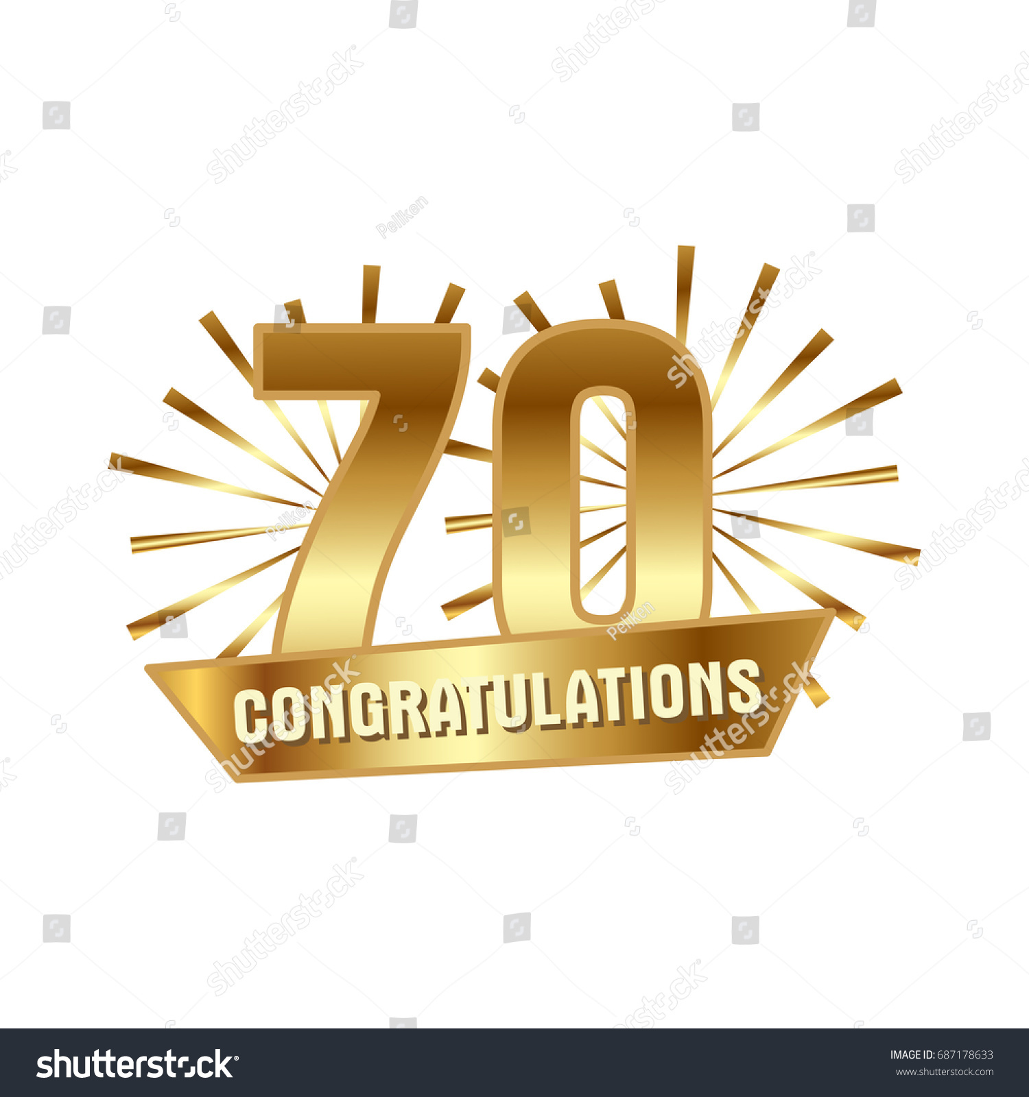 Anniversary golden seventy years number 70th stock vector 687178633 anniversary golden seventy years number 70th years festive logo and greeting with sunburst for invitation kristyandbryce Choice Image