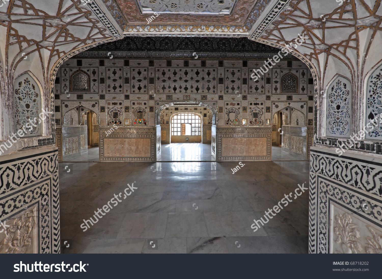 Interior Amber Fort Palace Jaipur India Stock Photo