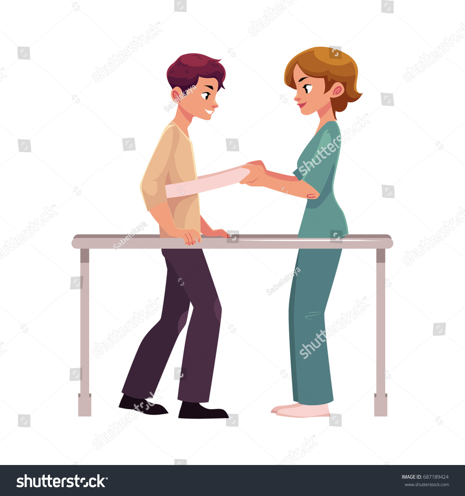 Cartoon physical therapy - Medical Rehabilitation Physical Therapy Parallel Bars Therapist Working With Patient Cartoon Vector