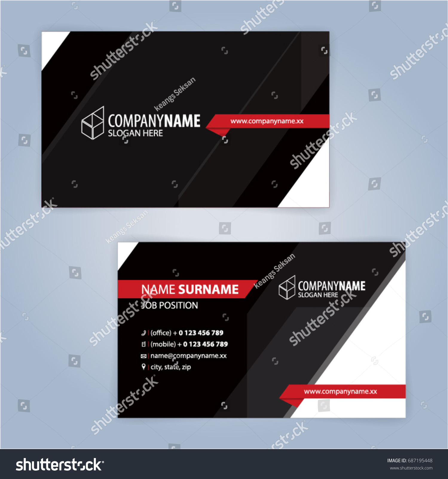 business card template red black illustration stock vector