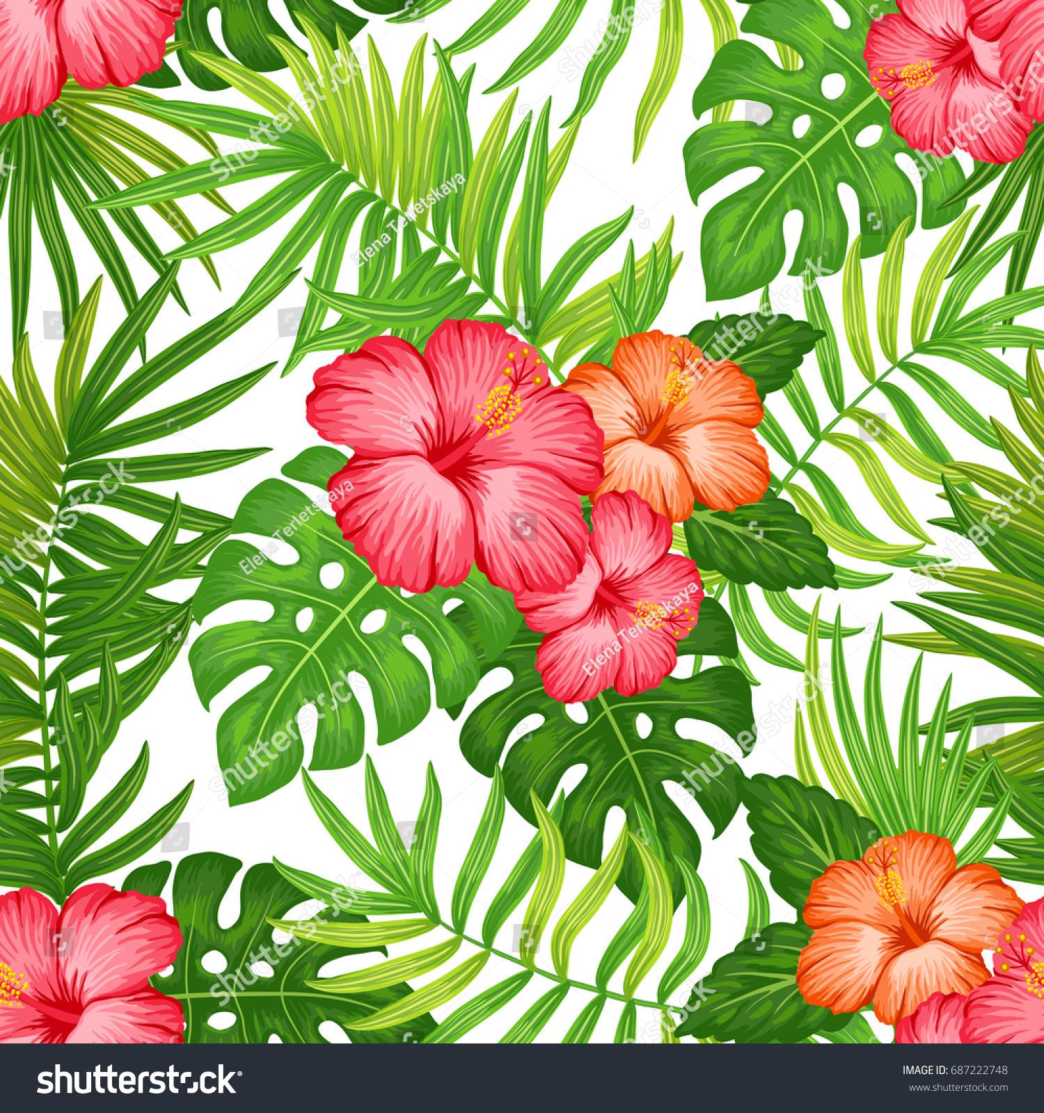 Summer hawaiian seamless pattern with exotic tropical plants and summer hawaiian seamless pattern with exotic tropical plants and hibiscus flowers ez canvas izmirmasajfo