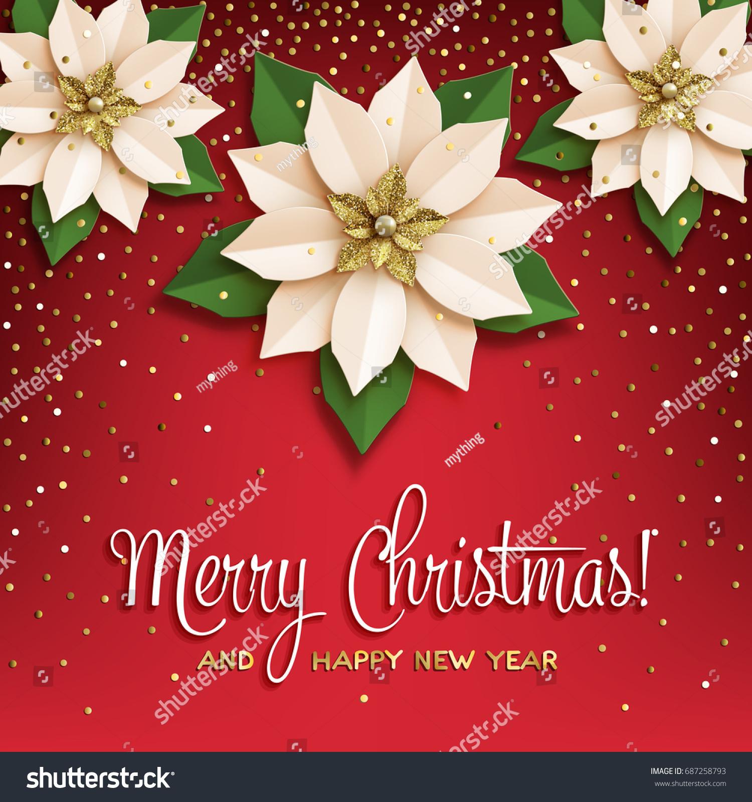 Christmas Star Poster Paper Poinsettia White Stock Vector 687258793