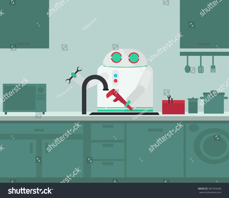Domestic Robot Plumber Fixing Faucet Kitchen Stock Vector 687343408 ...