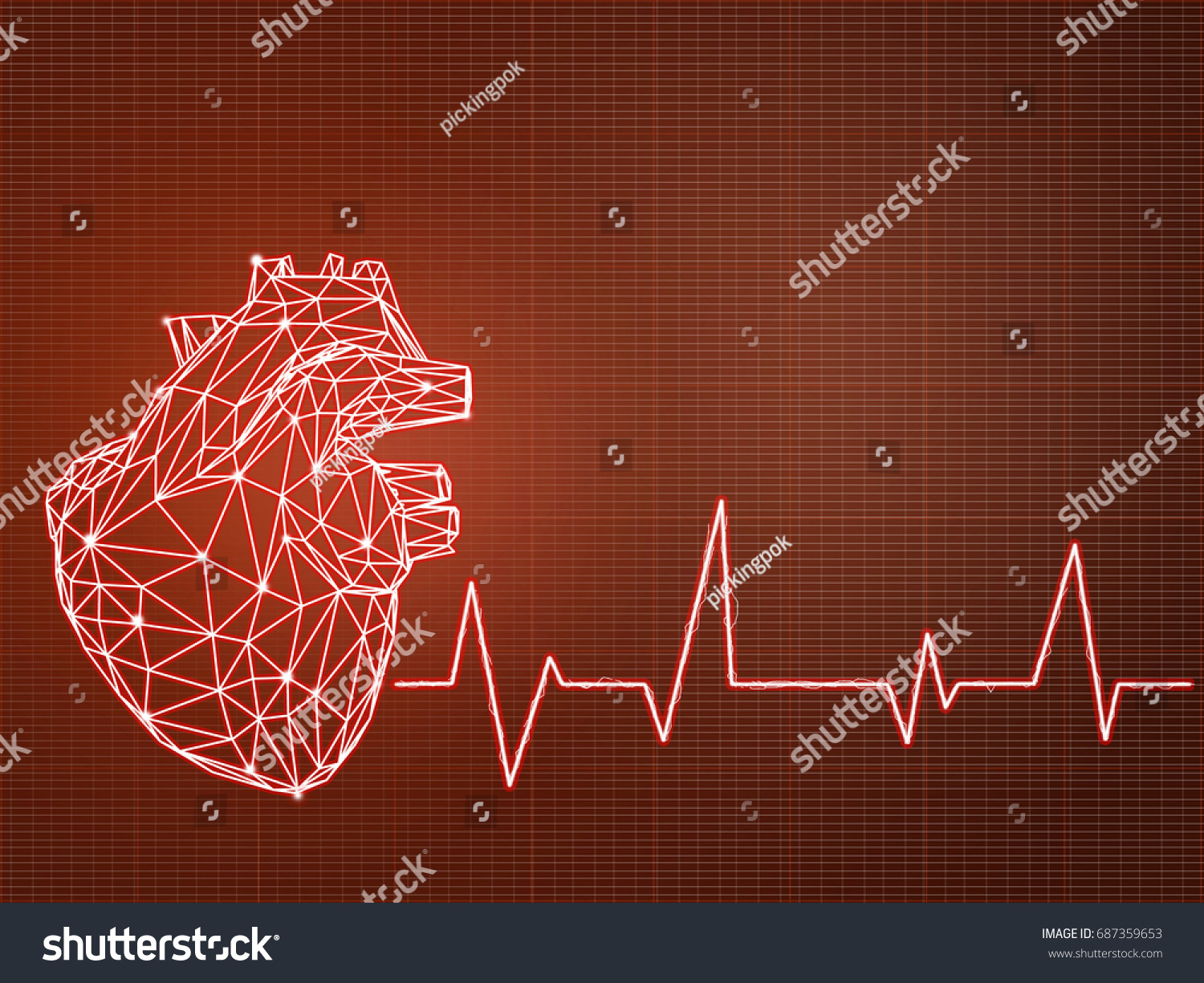 Polygonal Heart Shape Writing By Lines And Dotselectrocardiogram With Symbol
