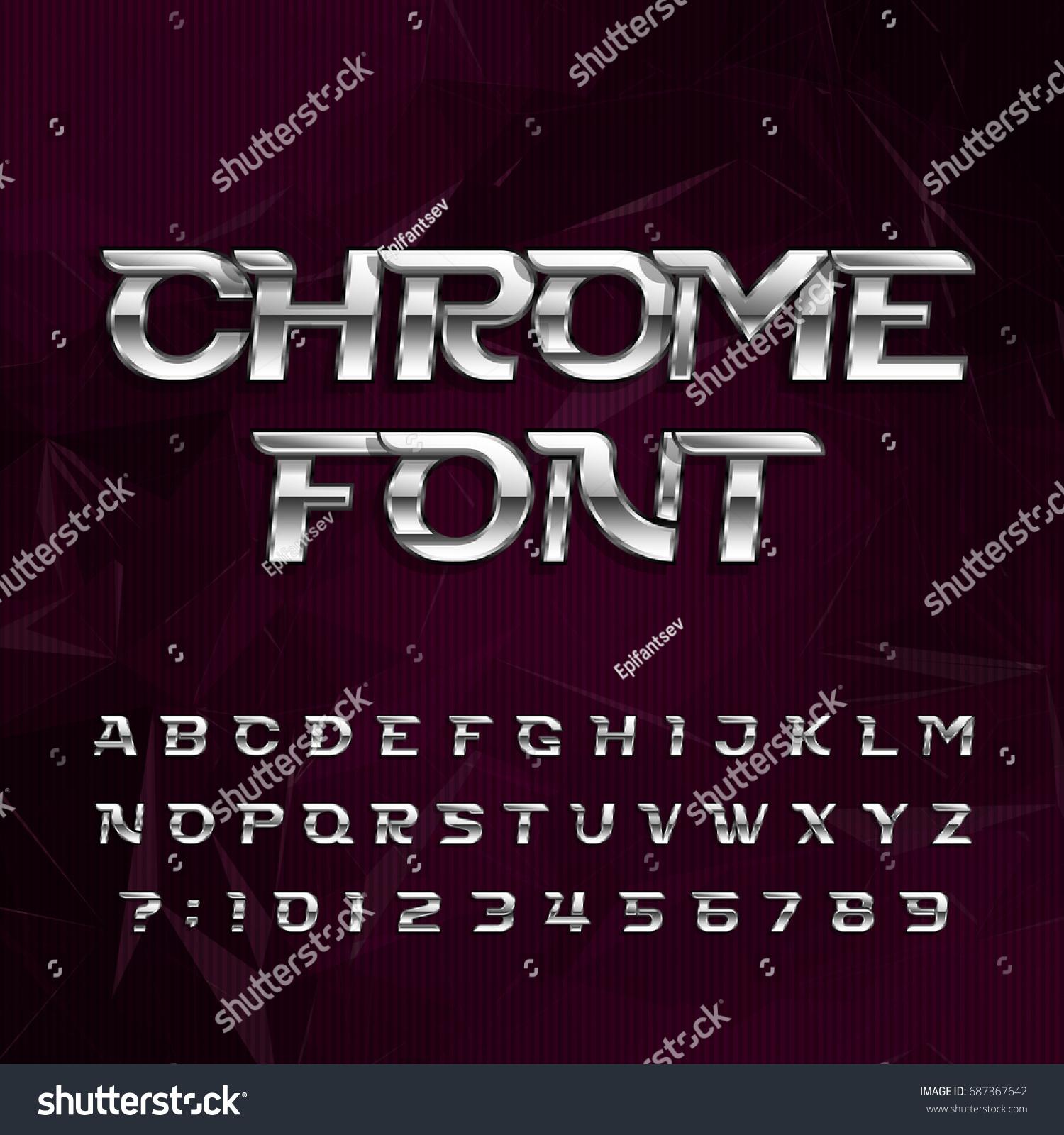 Text Decoration Italic: Chrome Alphabet Font Metallic Effect Italic Stock Vector