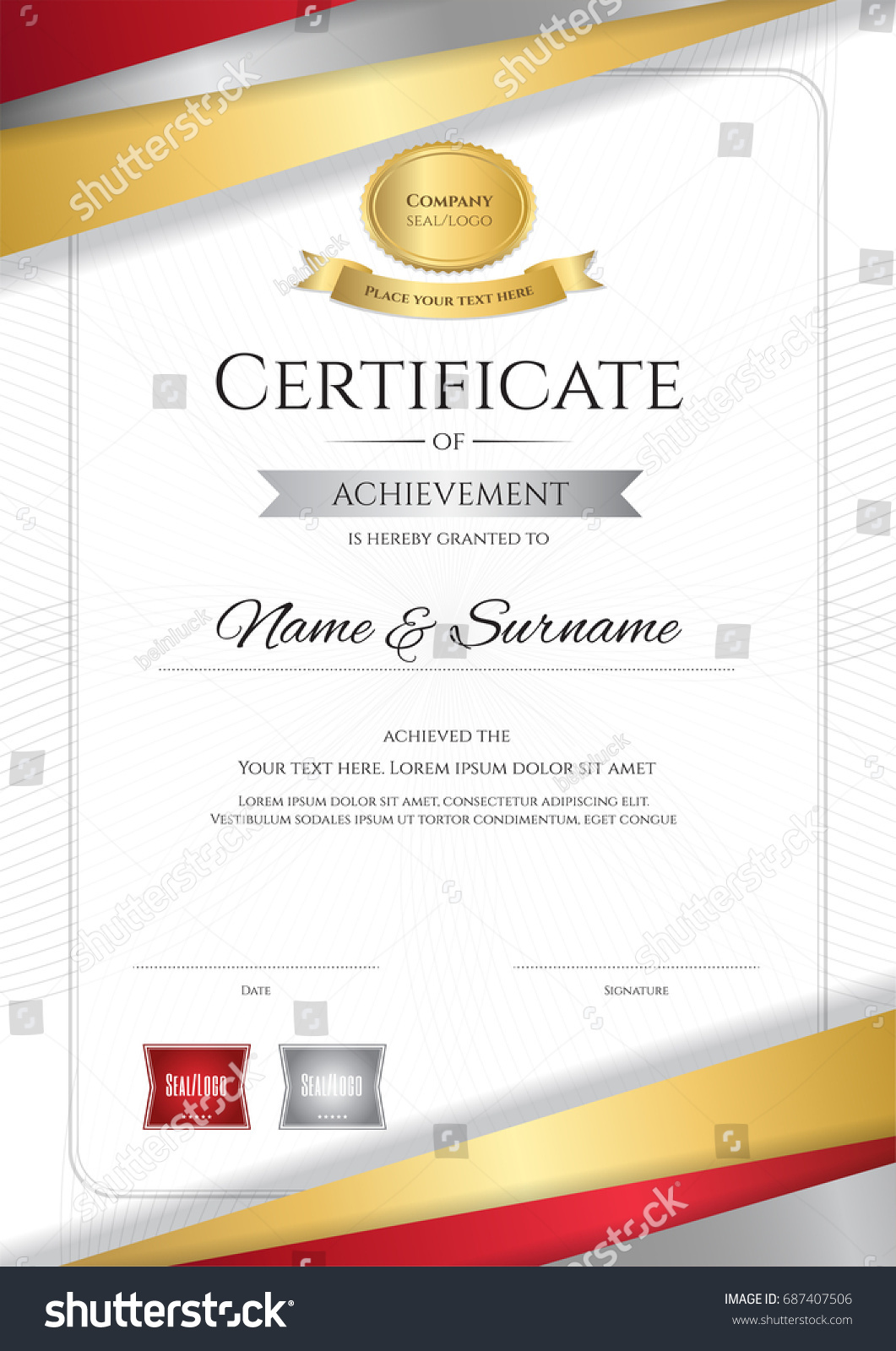 Portrait Luxury Certificate Template Elegant Golden Stock ...