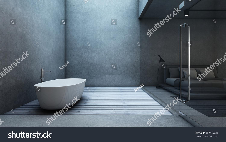 Bathroom Design Minimalist Loft House Wall Stock Illustration ...