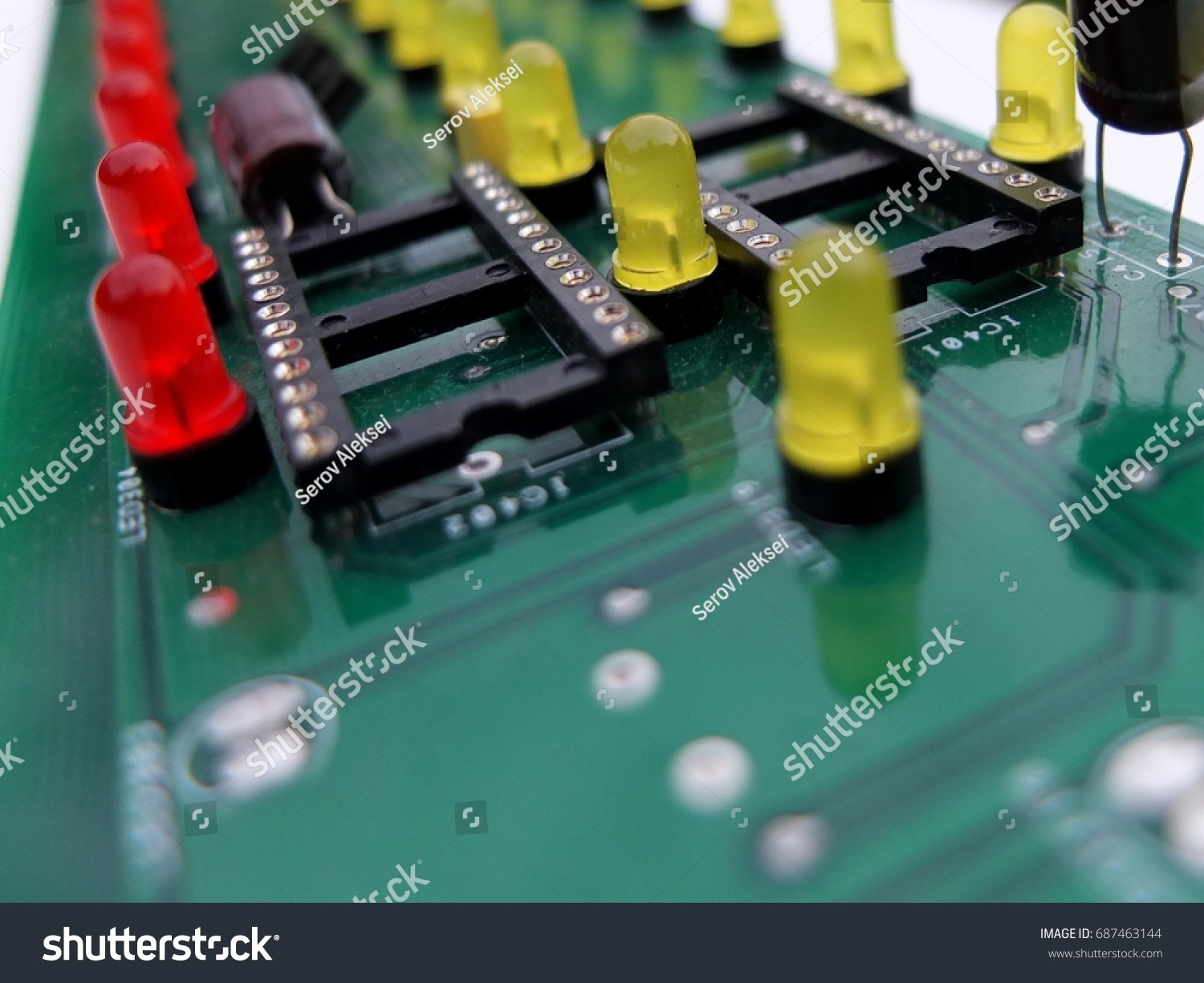 Pcb Plate Lightemitting Diodes Blurred Stock Photo Edit Now Howtoidentifycircuitsymbolslightemittingdiode With Light Emitting