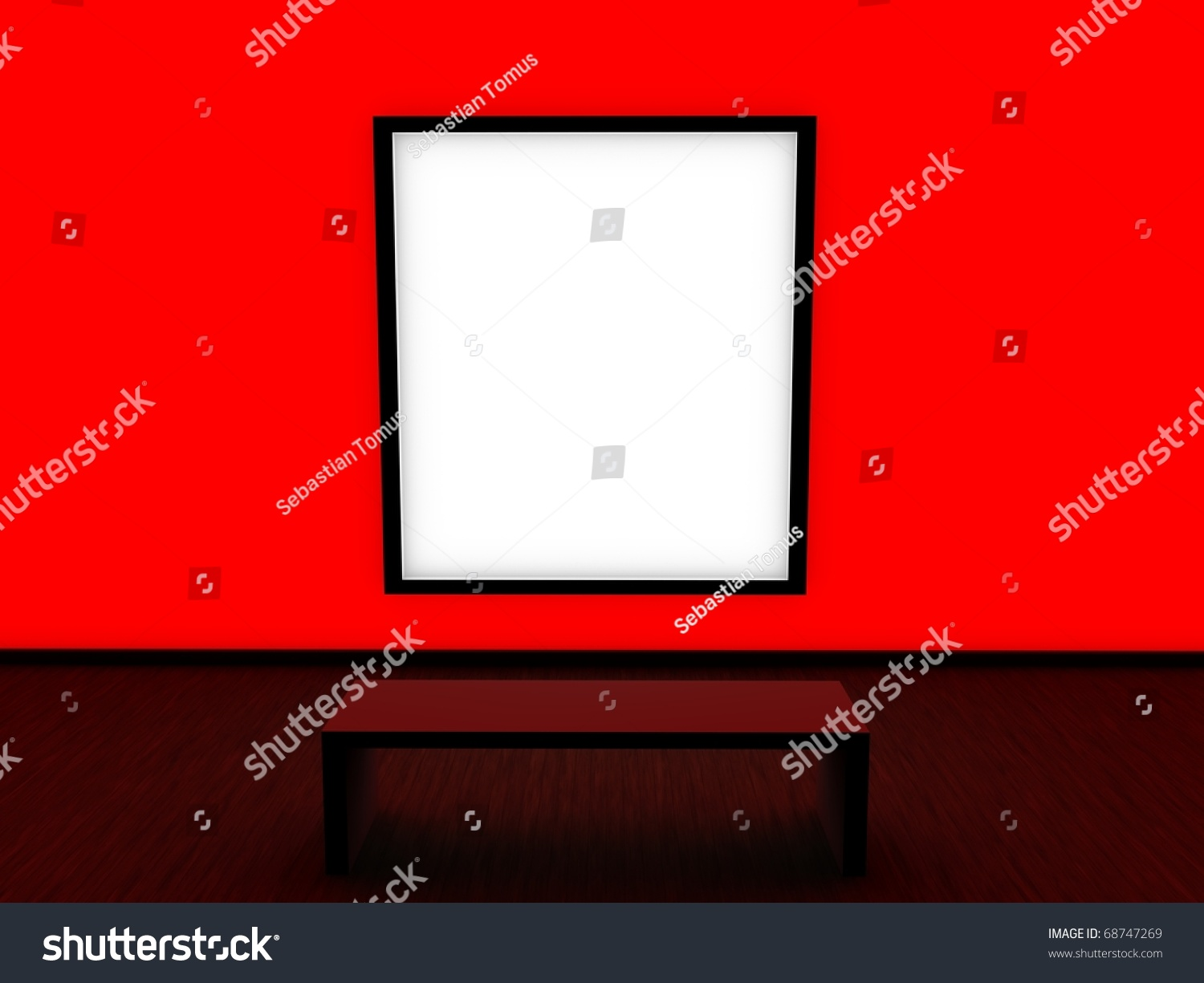 Modern Interior Design Red Wall Stock Photo 68747269
