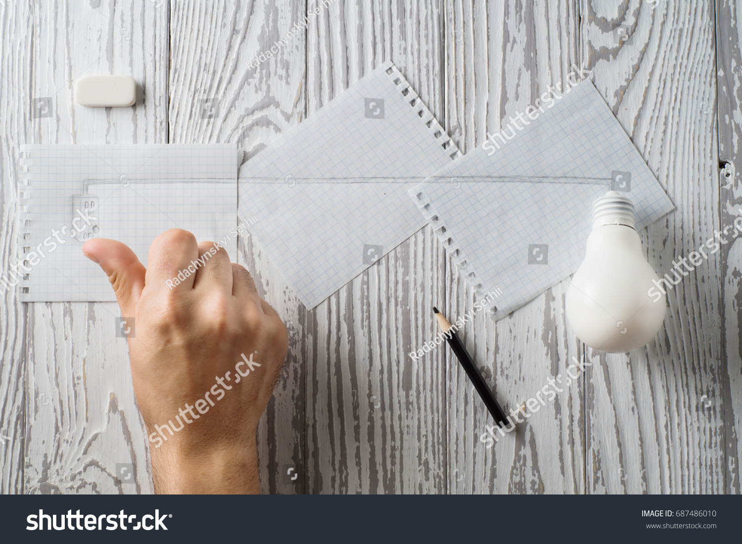 Pencil Sketch Electrical Circuit On Paper Stock Photo 687486010 ...