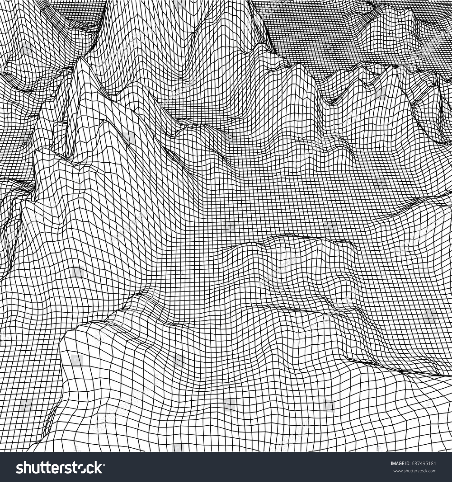 Abstract Landscape Mesh Background 3d Terrain Stock Vector